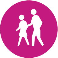 访问 icon of two people walking